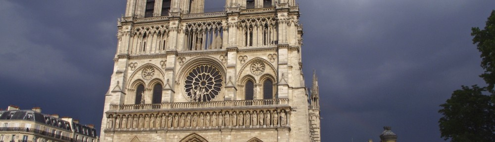 Stormie skies behind Notre Dame de Pares
