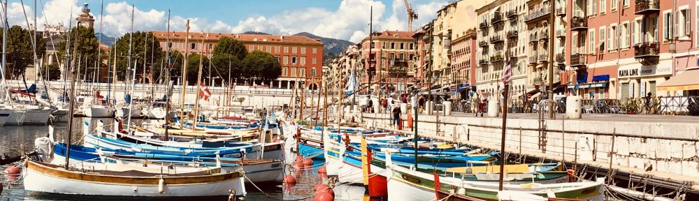 Traditional fishing boats tied up in the Port of Nice